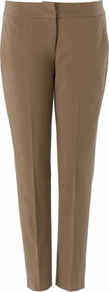 Hannah Trouser - pattern: plain; pocket detail: small back pockets; waist: mid/regular rise; predominant colour: camel; occasions: casual, work; length: ankle length; fibres: cotton - stretch; waist detail: narrow waistband; texture group: cotton feel fabrics; fit: slim leg; pattern type: fabric; style: standard