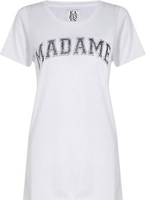 Madame T Shirt - neckline: round neck; style: t-shirt; predominant colour: white; secondary colour: mid grey; occasions: casual; length: standard; fibres: cotton - mix; fit: body skimming; bust detail: contrast pattern/fabric/detail at bust; sleeve length: short sleeve; sleeve style: standard; trends: statement prints; pattern type: fabric; pattern size: big & light; pattern: patterned/print; texture group: jersey - stretchy/drapey