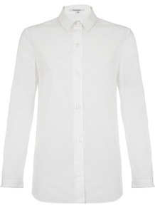Poplin Shirt - neckline: shirt collar/peter pan/zip with opening; pattern: plain; style: shirt; predominant colour: white; occasions: casual, work; length: standard; fibres: cotton - 100%; fit: body skimming; sleeve length: 3/4 length; sleeve style: standard; texture group: cotton feel fabrics; pattern type: fabric