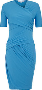 Twisted Jersey Dress - neckline: v-neck; fit: tight; pattern: plain; style: bodycon; waist detail: twist front waist detail/nipped in at waist on one side/soft pleats/draping/ruching/gathering waist detail; bust detail: ruching/gathering/draping/layers/pintuck pleats at bust; predominant colour: turquoise; occasions: evening, occasion; length: just above the knee; fibres: viscose/rayon - stretch; hip detail: ruching/gathering at hip; sleeve length: short sleeve; sleeve style: standard; trends: glamorous day shifts, fluorescent; pattern type: fabric; texture group: other - stretchy