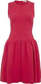 Full Skirted Dress - pattern: plain; sleeve style: sleeveless; predominant colour: true red; occasions: evening, occasion; length: just above the knee; fit: fitted at waist & bust; style: fit & flare; fibres: cotton - stretch; neckline: crew; sleeve length: sleeveless; trends: volume; pattern type: fabric; texture group: jersey - stretchy/drapey