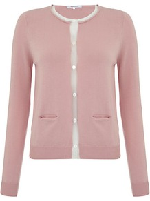 Mesh Trim Cardigan - neckline: round neck; pattern: plain; secondary colour: white; predominant colour: blush; occasions: casual, work, occasion; length: standard; style: standard; fibres: cotton - 100%; fit: slim fit; bust detail: contrast pattern/fabric/detail at bust; sleeve length: long sleeve; sleeve style: standard; texture group: knits/crochet; pattern type: knitted - fine stitch; pattern size: small &amp; light