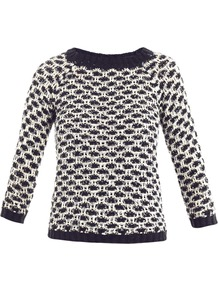 Pegaso Sweater - style: standard; secondary colour: white; predominant colour: navy; occasions: casual; length: standard; fibres: cotton - mix; fit: standard fit; neckline: crew; sleeve length: 3/4 length; sleeve style: standard; texture group: knits/crochet; pattern type: knitted - other; pattern size: standard; pattern: patterned/print