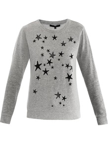 Star Print Sweatshirt - neckline: round neck; sleeve style: extended cuff; style: sweat top; predominant colour: mid grey; secondary colour: black; occasions: casual; length: standard; fibres: cotton - 100%; fit: loose; bust detail: contrast pattern/fabric/detail at bust; sleeve length: extra long; texture group: cotton feel fabrics; pattern type: fabric; pattern size: small &amp; light; pattern: patterned/print