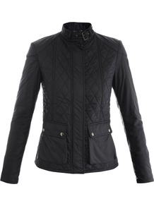Aynsley Quilted Jacket - pattern: plain; length: standard; collar: funnel; style: quilted; fit: slim fit; predominant colour: black; occasions: casual; fibres: polyester/polyamide - 100%; waist detail: fitted waist; sleeve length: long sleeve; sleeve style: standard; texture group: technical outdoor fabrics; collar break: high; pattern type: fabric