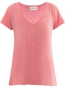 Jacksonville T Shirt - neckline: v-neck; pattern: plain; style: t-shirt; predominant colour: pink; occasions: casual, holiday; length: standard; fibres: cotton - mix; fit: loose; sleeve length: short sleeve; sleeve style: standard; pattern type: fabric; texture group: jersey - stretchy/drapey