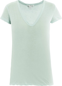 Soft Jersey V Neck T Shirt - neckline: low v-neck; sleeve style: capped; pattern: plain; style: t-shirt; predominant colour: pistachio; occasions: casual; length: standard; fibres: cotton - mix; fit: straight cut; sleeve length: short sleeve; pattern type: fabric; texture group: jersey - stretchy/drapey