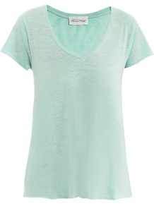 Jacksonville T Shirt - neckline: low v-neck; pattern: plain; style: t-shirt; predominant colour: pistachio; occasions: casual, work, holiday; length: standard; fibres: cotton - mix; fit: body skimming; sleeve length: short sleeve; sleeve style: standard; pattern type: fabric; pattern size: standard; texture group: jersey - stretchy/drapey