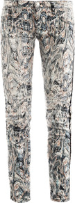 Ogden Printed Low Rise Skinny Jeans - style: skinny leg; length: standard; waist: low rise; pocket detail: traditional 5 pocket; occasions: casual, evening, holiday; fibres: cotton - stretch; predominant colour: multicoloured; texture group: denim; pattern type: fabric; pattern size: small &amp; busy; pattern: patterned/print