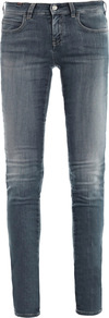 Bamboo Mid Rise Skinny Jeans - style: skinny leg; length: standard; pattern: plain; pocket detail: traditional 5 pocket; waist: mid/regular rise; predominant colour: denim; occasions: casual; fibres: cotton - stretch; jeans detail: shading down centre of thigh, washed/faded; texture group: denim; pattern type: fabric