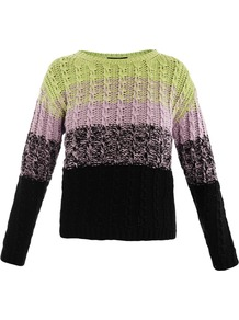 Multi Ombre Sweater - neckline: slash/boat neckline; style: standard; secondary colour: lime; occasions: casual; length: standard; fibres: cotton - 100%; fit: standard fit; bust detail: contrast pattern/fabric/detail at bust; predominant colour: multicoloured; sleeve length: long sleeve; sleeve style: standard; texture group: knits/crochet; trends: striking stripes; pattern type: knitted - other; pattern size: standard; pattern: colourblock