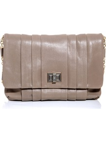 Gracie Bag - predominant colour: taupe; occasions: evening, occasion; type of pattern: standard; style: shoulder; length: shoulder (tucks under arm); size: standard; material: leather; embellishment: pleated; pattern: plain; finish: plain