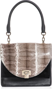 Nativa Bag - secondary colour: stone; predominant colour: black; occasions: casual, evening, work; type of pattern: standard; style: shoulder; length: handle; size: standard; material: leather; pattern: animal print; finish: plain