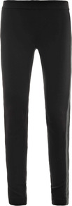 Double Leather Trim Leggings - length: standard; pattern: plain; style: leggings; waist detail: elasticated waist; waist: mid/regular rise; predominant colour: black; occasions: casual; fibres: viscose/rayon - stretch; fit: skinny/tight leg; pattern type: fabric; texture group: jersey - stretchy/drapey