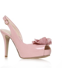 Celeste3 - predominant colour: blush; occasions: evening, occasion; material: leather; heel height: high; ankle detail: ankle strap; heel: standard; toe: open toe/peeptoe; style: slingbacks; finish: patent; pattern: plain; embellishment: corsage