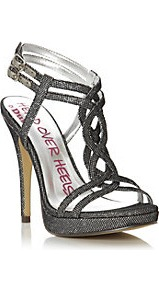 Hellie Head Over Heels Metallic T Bar High Heel Sandal - predominant colour: silver; occasions: evening, occasion; material: fabric; embellishment: glitter; ankle detail: ankle strap; heel: platform; toe: open toe/peeptoe; style: strappy; trends: metallics; finish: metallic; pattern: plain; heel height: very high