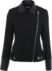 Pu Detail Biker Coat - pattern: plain; style: biker; collar: standard biker; predominant colour: black; occasions: casual; length: standard; fit: tailored/fitted; fibres: polyester/polyamide - stretch; sleeve length: long sleeve; sleeve style: standard; texture group: leather; collar break: high/illusion of break when open; pattern type: fabric