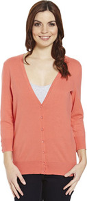 Basics Stretch Cardigan - neckline: plunge; pattern: plain; predominant colour: coral; occasions: casual, work; length: standard; style: standard; fibres: cotton - 100%; fit: standard fit; sleeve length: 3/4 length; sleeve style: standard; texture group: knits/crochet; pattern type: knitted - fine stitch