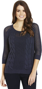 Mesh Cable Knit Jumper - style: standard; pattern: cable knit; predominant colour: navy; occasions: casual; length: standard; fibres: cotton - 100%; fit: standard fit; neckline: crew; sleeve length: 3/4 length; sleeve style: standard; texture group: knits/crochet
