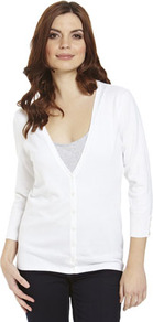 Basics Stretch Cardigan - neckline: low v-neck; pattern: plain; predominant colour: white; occasions: casual, work; length: standard; style: standard; fibres: cotton - mix; fit: standard fit; sleeve length: 3/4 length; sleeve style: standard; texture group: knits/crochet; pattern type: knitted - fine stitch