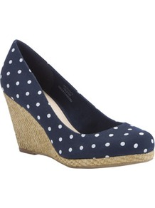 Spot Print Woven Raffia Wedges - secondary colour: white; predominant colour: navy; occasions: casual, evening, holiday; material: fabric; heel height: high; heel: wedge; toe: round toe; style: courts; finish: plain; pattern: polka dot