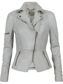Lyra Leather Biker In Concrete Grey - pattern: plain; style: biker; collar: asymmetric biker; fit: slim fit; predominant colour: light grey; occasions: casual, evening; length: standard; fibres: leather - 100%; waist detail: fitted waist; sleeve length: long sleeve; sleeve style: standard; texture group: leather; collar break: medium; pattern type: fabric