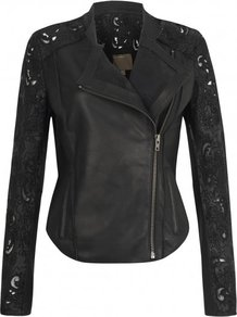 Tureis Leather Laser Cut Biker Jacket In Black - pattern: plain; style: biker; collar: asymmetric biker; fit: slim fit; predominant colour: black; occasions: casual, evening; length: standard; fibres: leather - 100%; sleeve length: long sleeve; sleeve style: standard; texture group: leather; collar break: medium; pattern type: fabric