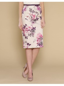 Rhonda Rose Skirt - length: below the knee; style: pencil; fit: tailored/fitted; waist: high rise; secondary colour: lilac; occasions: work, occasion; fibres: cotton - stretch; waist detail: narrow waistband; predominant colour: multicoloured; trends: high impact florals; pattern type: fabric; pattern size: big & light; pattern: florals; texture group: other - light to midweight