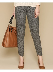 Chevron Print Trousers - waist: mid/regular rise; predominant colour: light grey; occasions: casual, evening; length: calf length; fibres: viscose/rayon - 100%; fit: slim leg; pattern type: fabric; pattern size: small & light; pattern: patterned/print; texture group: jersey - stretchy/drapey; style: standard