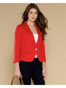 Angel Layering Jacket - pattern: plain; style: single breasted blazer; collar: standard lapel/rever collar; predominant colour: true red; occasions: casual, evening, work; length: standard; fit: tailored/fitted; fibres: polyester/polyamide - 100%; waist detail: fitted waist; sleeve length: 3/4 length; sleeve style: standard; collar break: medium; pattern type: fabric; texture group: other - light to midweight