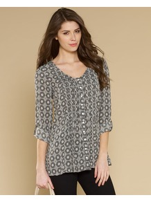 Majolica Tile Printed Pintuck Blouse - neckline: v-neck; length: below the bottom; style: blouse; predominant colour: mid grey; occasions: casual, holiday; fibres: viscose/rayon - 100%; fit: straight cut; hip detail: soft pleats at hip/draping at hip/flared at hip; sleeve length: 3/4 length; sleeve style: standard; texture group: cotton feel fabrics; pattern type: fabric; pattern size: standard; pattern: patterned/print