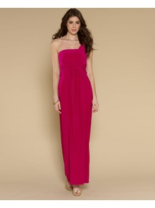 Eva Maxi Dress - pattern: plain; sleeve style: sleeveless; style: maxi dress; neckline: asymmetric; waist detail: twist front waist detail/nipped in at waist on one side/soft pleats/draping/ruching/gathering waist detail; predominant colour: hot pink; occasions: evening, occasion; length: floor length; fit: fitted at waist & bust; fibres: polyester/polyamide - stretch; shoulder detail: asymmetric shoulder detail/one shoulder; sleeve length: sleeveless; pattern type: fabric; texture group: jersey - stretchy/drapey