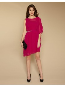 Kora Embellished Dress - neckline: round neck; sleeve style: dolman/batwing; fit: fitted at waist; pattern: plain; style: asymmetric (top); waist detail: embellishment at waist/feature waistband; predominant colour: hot pink; occasions: evening, occasion; length: just above the knee; fibres: silk - 100%; sleeve length: 3/4 length; texture group: sheer fabrics/chiffon/organza etc.; pattern type: fabric; embellishment: beading