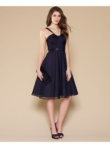 Lana Prom Dress - style: shift; neckline: low v-neck; fit: fitted at waist; pattern: plain; sleeve style: sleeveless; waist detail: fitted waist; predominant colour: navy; occasions: evening, occasion; length: on the knee; fibres: polyester/polyamide - 100%; sleeve length: sleeveless; texture group: sheer fabrics/chiffon/organza etc.; pattern type: fabric