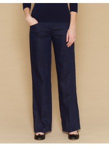 Baya Smart Long Linen Trousers - length: standard; pattern: plain; pocket detail: pockets at the sides; waist: mid/regular rise; predominant colour: navy; occasions: casual, evening, work; fibres: linen - 100%; texture group: linen; fit: wide leg; pattern type: fabric; style: standard