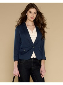 Angel Layering Jacket - pattern: plain; style: single breasted blazer; collar: standard lapel/rever collar; predominant colour: navy; occasions: casual, work; length: standard; fit: tailored/fitted; fibres: viscose/rayon - 100%; sleeve length: long sleeve; sleeve style: standard; collar break: low/open; pattern type: fabric; texture group: suede