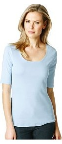 Cotton Scoop Neck T Shirt With Stay New™ - pattern: plain; style: t-shirt; predominant colour: pale blue; occasions: casual, work; length: standard; neckline: scoop; fibres: cotton - 100%; fit: body skimming; sleeve length: half sleeve; sleeve style: standard; pattern type: fabric; pattern size: standard; texture group: jersey - stretchy/drapey
