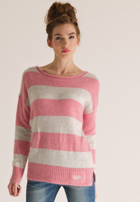Salvador Crew Neck - neckline: round neck; pattern: horizontal stripes, striped; style: standard; predominant colour: pink; occasions: casual; length: standard; fibres: wool - mix; fit: standard fit; sleeve length: long sleeve; sleeve style: standard; texture group: knits/crochet; pattern type: knitted - other; pattern size: standard