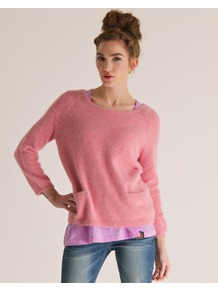 Brittany Crew Neck - neckline: round neck; hip detail: front pockets at hip, fitted at hip; style: standard; predominant colour: pink; occasions: casual, work; length: standard; fibres: wool - mix; fit: standard fit; waist detail: front pockets at waist level; sleeve length: long sleeve; sleeve style: standard; texture group: knits/crochet; pattern type: knitted - other; pattern size: standard