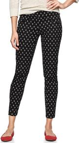Super Skinny Anchor Print Pants - waist: mid/regular rise; secondary colour: white; predominant colour: black; occasions: casual; length: calf length; fibres: cotton - stretch; texture group: cotton feel fabrics; fit: skinny/tight leg; pattern type: fabric; pattern size: small &amp; busy; pattern: patterned/print; style: standard