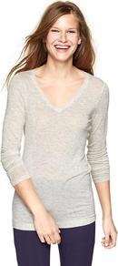 Pure Body Sheer V Neck T - neckline: v-neck; pattern: plain; length: below the bottom; predominant colour: light grey; occasions: casual; style: top; fibres: viscose/rayon - stretch; fit: body skimming; sleeve length: long sleeve; sleeve style: standard; pattern type: fabric; texture group: jersey - stretchy/drapey