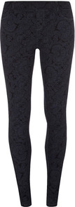 Blue Paisley Print Jegging - length: standard; pattern: paisley; style: jeggings; pocket detail: traditional 5 pocket; waist: mid/regular rise; predominant colour: navy; secondary colour: black; occasions: casual, evening; fibres: cotton - stretch; texture group: denim; pattern type: fabric; pattern size: standard