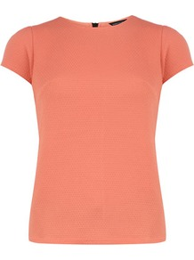 Peach Textured Jersey Tee - sleeve style: capped; pattern: plain; style: t-shirt; predominant colour: coral; occasions: casual, holiday; length: standard; fibres: polyester/polyamide - 100%; fit: body skimming; neckline: crew; sleeve length: short sleeve; pattern type: fabric; texture group: jersey - stretchy/drapey