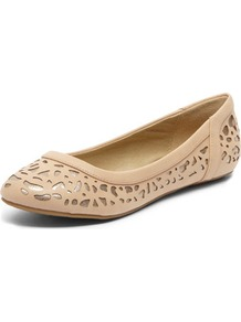 Nude Lasercut Pumps - predominant colour: nude; occasions: casual; material: faux leather; heel height: flat; embellishment: embroidered; toe: round toe; style: ballerinas / pumps; finish: plain; pattern: plain