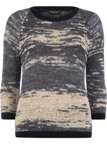 Blue Space Dye Jumper - sleeve style: raglan; style: standard; secondary colour: ivory; predominant colour: charcoal; occasions: casual; length: standard; fibres: acrylic - mix; fit: slim fit; neckline: crew; sleeve length: 3/4 length; texture group: knits/crochet; trends: statement prints; pattern type: knitted - other; pattern size: standard; pattern: patterned/print