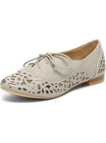Grey Lasercut Brogues - predominant colour: stone; occasions: casual, work, holiday; material: faux leather; heel height: flat; toe: round toe; style: brogues; trends: modern geometrics; finish: plain; pattern: patterned/print