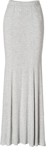 Light Grey Heather Jersey Maxi Skirt - pattern: plain; fit: body skimming; waist: mid/regular rise; predominant colour: light grey; occasions: casual; length: floor length; style: maxi skirt; fibres: viscose/rayon - stretch