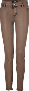 Mocha Super Skinny Jeans - style: skinny leg; length: standard; pattern: plain; pocket detail: traditional 5 pocket; waist: mid/regular rise; predominant colour: chocolate brown; occasions: casual, evening, holiday; fibres: cotton - stretch; texture group: denim; pattern type: fabric