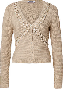 Sand Shell Embellished Cotton Cardigan - neckline: low v-neck; pattern: plain; bust detail: added detail/embellishment at bust; predominant colour: stone; occasions: casual; length: standard; style: standard; fibres: cotton - 100%; fit: slim fit; sleeve length: long sleeve; sleeve style: standard; texture group: knits/crochet; pattern type: knitted - other; embellishment: beading