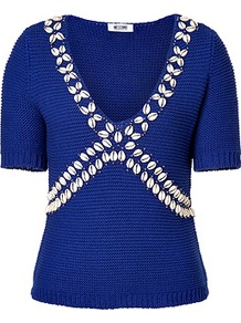 Royal Blue Shell Embellished Cotton Pullover - neckline: low v-neck; pattern: plain; bust detail: added detail/embellishment at bust; style: standard; predominant colour: royal blue; occasions: casual, evening; length: standard; fibres: cotton - 100%; fit: slim fit; sleeve length: short sleeve; sleeve style: standard; texture group: knits/crochet; pattern type: knitted - other; embellishment: applique